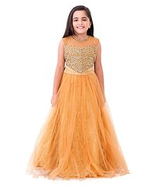 Betty By Tiny Kingdom Beads Embroidered Evening Gown - Yellow