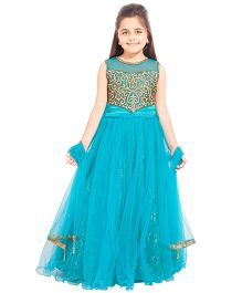 Betty By Tiny Kingdom Beads Embroidered Evening Gown - Blue