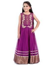 Betty By Tiny KingdomEmbroidered Evening Gown - Purple