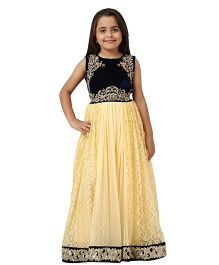 Betty By Tiny Kingdom Floral Evening Gown - Yellow & Black