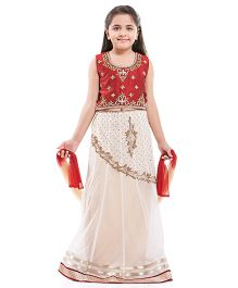 Betty By Tiny Kingdom Elegant Ghagra Choli Set - White & Maroon