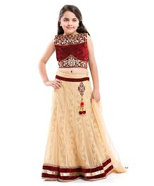 Betty By Tiny Kingdom Pretty Ghagra Choli Set - Maroon & Beige