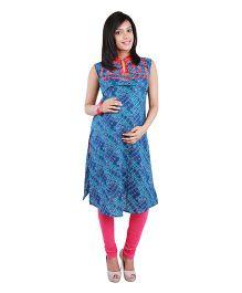Morph Maternity Sleeveless Nursing Kameez - Blue & Pink