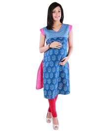 Morph Marternity Colour Block Nursing Kurta Blue & Pink S