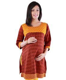 Morph Maternity Three Fourths Nursing Ikat Kurta - Maroon