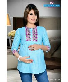 Mama & Bebe Three Fourth Sleeves Conceal Maternity Feeding Kurti - Light Blue