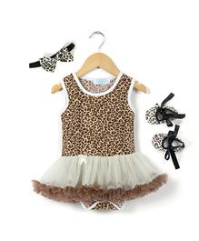 Pikaboo Sleeveless Pretty Leopard Print Onesie Dress Booties & Headband Combo - Brown
