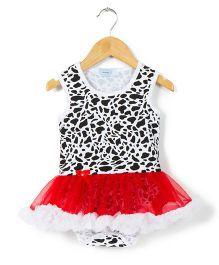 Pikaboo Sleeveless Jungle Red Tutu Onesie Dress