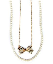 A.T.U.N Double Strand Classic Diamante Bow Necklace - White