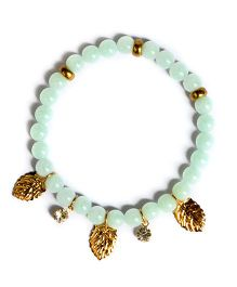 A.T.U.N Stone & Leaf Charm Bracelet - Green & Golden