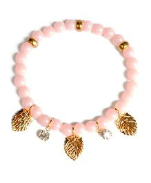 A.T.U.N Stone & Leaf Charm Bracelet - Peach