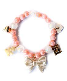 A.T.U.N Pearl Bow Charm Bracelet - Peach