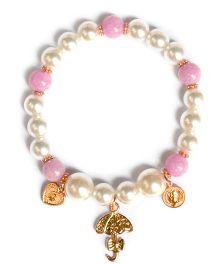 A.T.U.N Bead & Bow Charm Bracelet - Peach & White