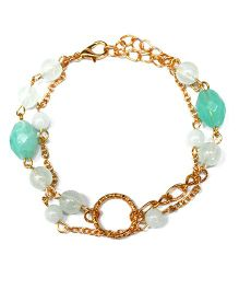 A.T.U.N Aqua Gem Stone & Double Chain Bracelet - White & Green