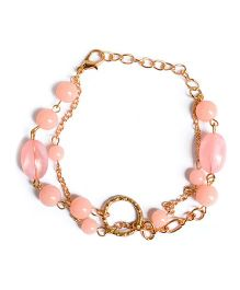 A.T.U.N Gem Stone & Double Chain Bracelet - Peach