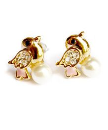 A.T.U.N Golden Pearl Birdie Earrings - Golden