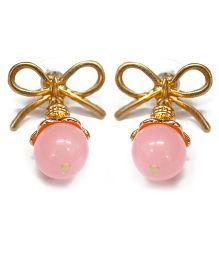 A.T.U.N Gem Stone & Bow Earrings - Pink