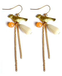 A.T.U.N Golden Bead Bird Dangler Earrings - Multicolour