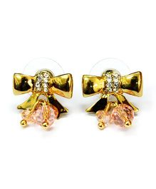 A.T.U.N Golden Diamante Studded Bow Earrings - Golden