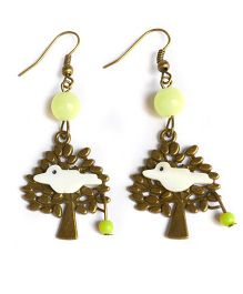 A.T.U.N Green Bird On Tree Earrings - Brown & Yellow