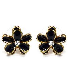 A.T.U.N Black Dainty Flower Earrings - Black