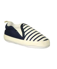 Kiwi Slip-On Stripe Booties - White Blue