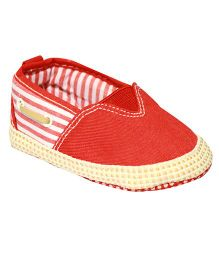 Kiwi Slip-On Stripe Booties - White Red