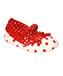 Kiwi Booties Polka Dots Print - White and Red