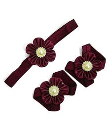 Little Miss Cuttie Headband & Barefoot Sandals Set - Wine Red