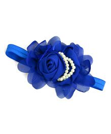 Little Miss Cuttie Flower & Pearl Headband - Blue