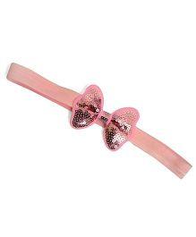 Little Miss Cuttie Sequin Bow Headband - Light Pink