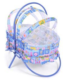 Mothertouch Rocking Cradle Teddy & Floral Print - Sky Blue