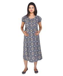 MomToBe Short Sleeves Maternity Dress Abstract Print - Navy Blue