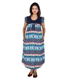 MomToBe Half Sleeves Maternity Dress Multi Print - Blue