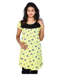MomToBe Short Sleeves Maternity Top Floral Print - Yellow