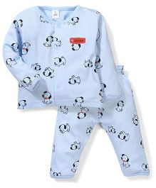 ToffyHouse Full Sleeves Puppy Printed Night Suit - Light Blue