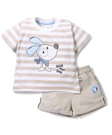 ToffyHouse Corduroy Short & Half Sleeves T-Shirt With Patch Set - White & Beige