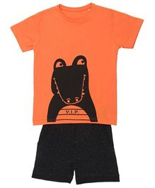 Brown Boy Mini Two Sided Crocodile Print Tee & Shorts Set - Orange & Black