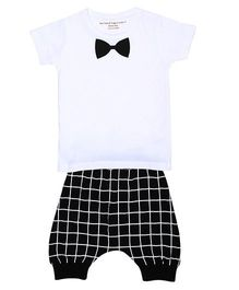 Brown Boy Bow Print Tee & Joggers Set - White & Black