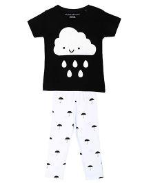 Brown Boy Mini Cute Cloud Printed Tee & Pant Set - White & Black