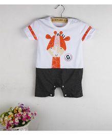 Teddy Guppies Short Sleeves Romper Giraffe Print - White Black
