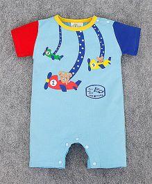 Teddy Guppies Half Sleeves Flying Planes Print Romper - Blue