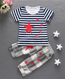 Teddy Guppies Half Sleeves Stripes Top And Bottom Set Stars Print - White Black