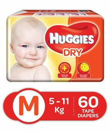 Huggies New Dry Diapers Medium - 60 Pieces