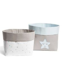 Masilo Linen For Littles Fabric Storage Basket Blue - Pack Of 2