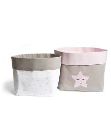 Masilo Linen For Littles Fabric Storage Basket Pink - Pack Of 2