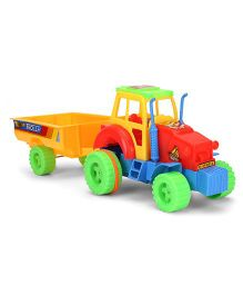 Kids Zone Nissan Tractor Trolley Friction Toy - Red & Mango Yellow