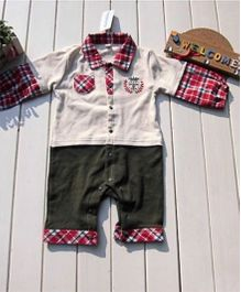 Teddy Guppies Full Sleeves Check Pattern Romper - Red White Grey