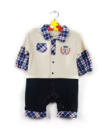 Teddy Guppies Full Sleeves Check Pattern Romper - Blue White Grey