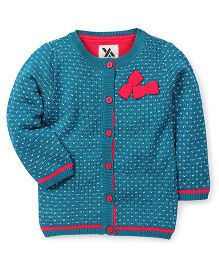 Yellow Apple Full Sleeves Cardigan Sweater Bow Applique - Teal Blue